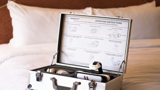 The Samsung VR Headset is part of the Marriott Hotel's VRoom Service kit